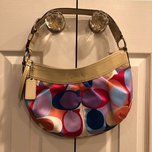 COACH Soho pleated scarf print sateen purse bag
